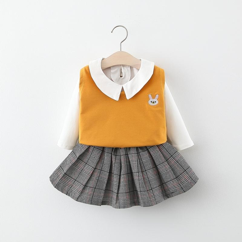 3-piece Vest & Shirt & Pleated Skirt for Toddler Girl