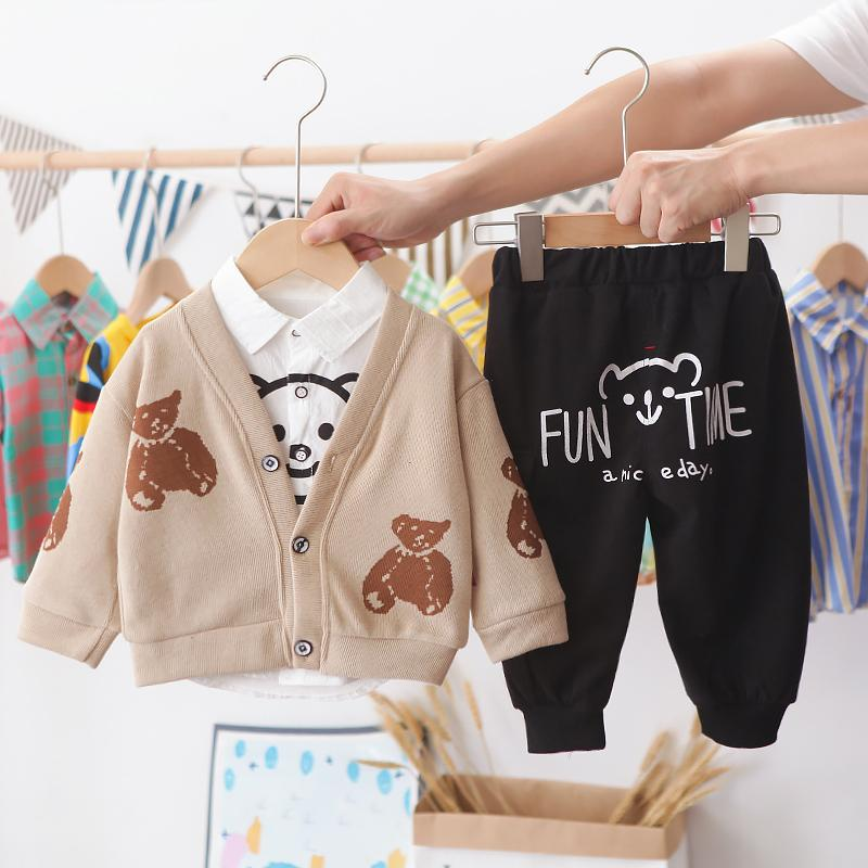3-piece Bear Pattern Coat & Shirt & Pants for Toddler Boy