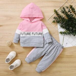 2-piece Color-block Hoodie & Pants for Baby Girl