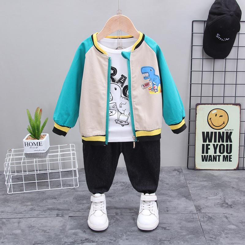 3-piece Dinosaur Pattern Coat & Sweatshirt & Pants for Toddler Boy