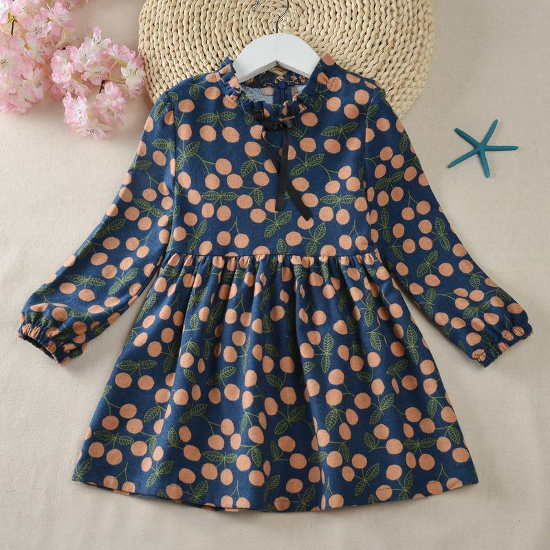 Ruffle Flower Pattern Dress for Toddler Girl