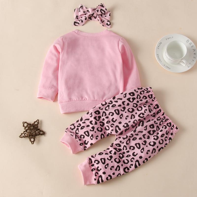 3-piece Leopard Headband & Sweatshirt & Leopard Pants for Baby Girl