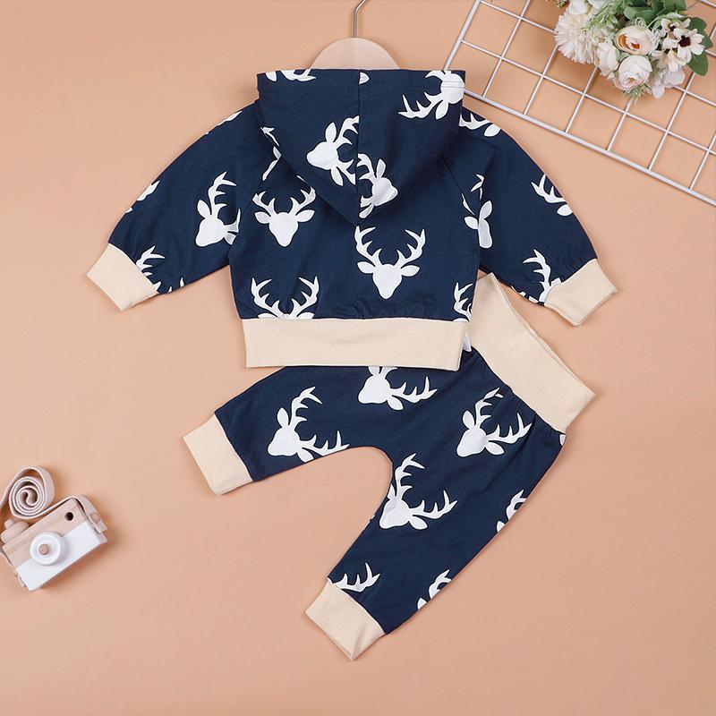 Cute Deer Pattern Long-sleeve Hooded Top and Pants Set