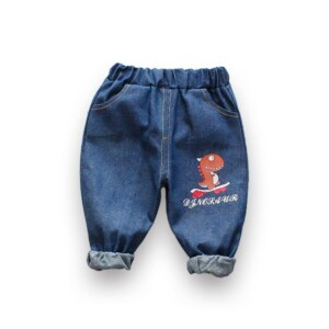 Dinosaur Pattern Jeans for Toddler Boy