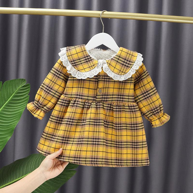 Ruffle Plaid Fleece-lined Dress for Toddler Girl