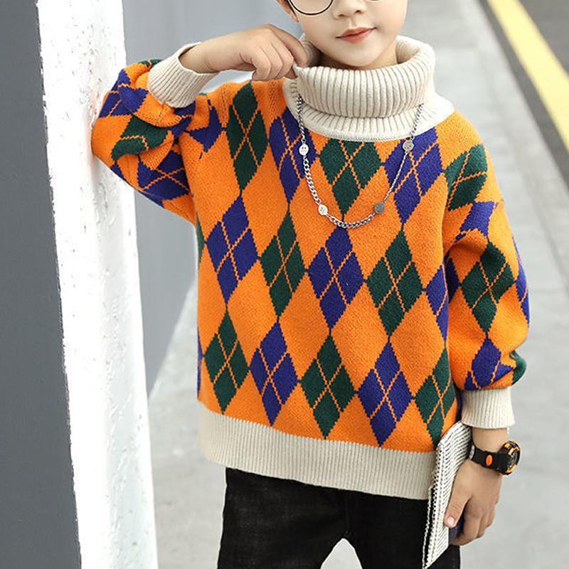 Geometric Pattern Sweater for Boy