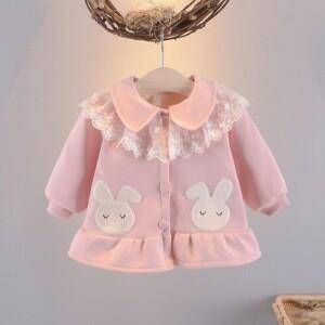 Cute Lace Ruffled-collar Long-sleeve Rabbit Pattern Coat