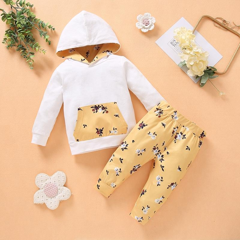 2-piece Floral Pattern Hoodie & Pants for Baby Girl