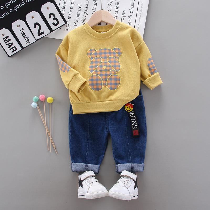 2-piece Bear Pattern Sweatshirts & Pants for Toddler Boy