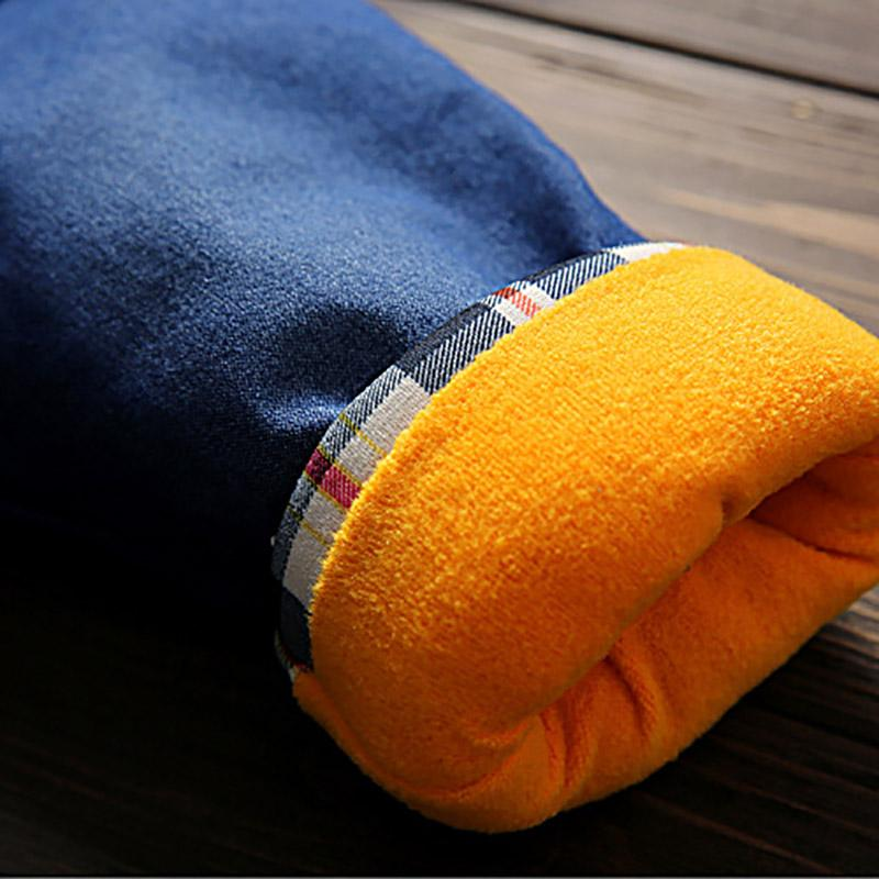 Letter Pattern Fleece-lined Jeans for Toddler Boy