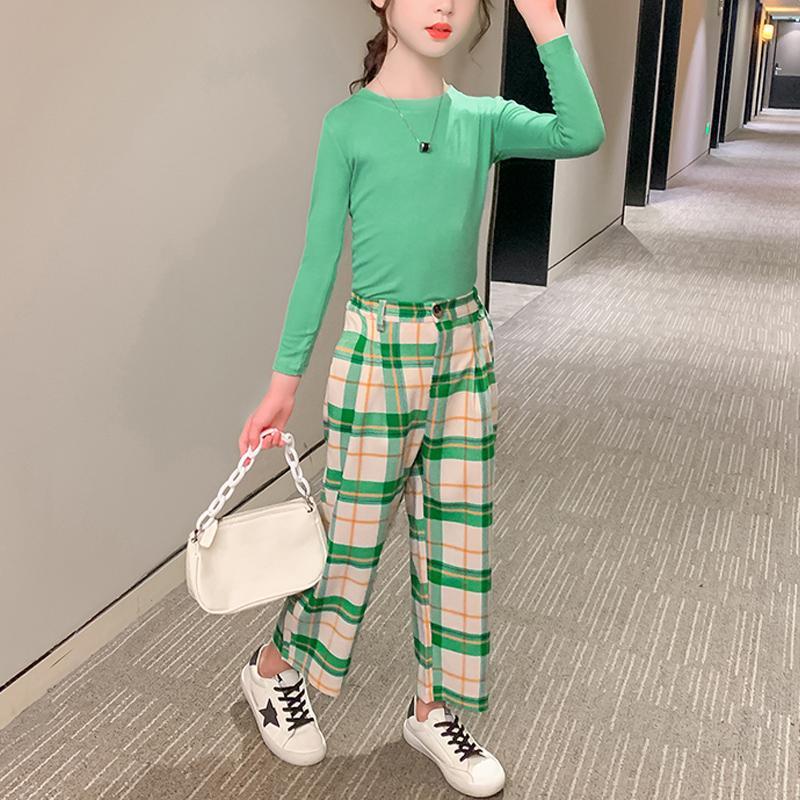 2-piece Sweatshirts & Plaid Pants for Girl