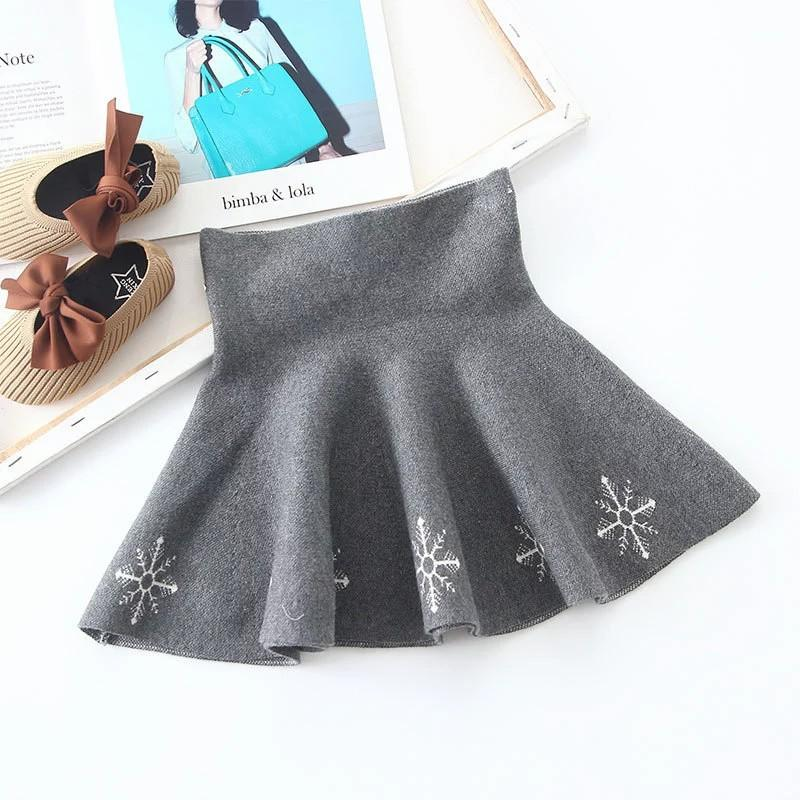 Floral Pattern Knitted Pleated Skirt for Girl