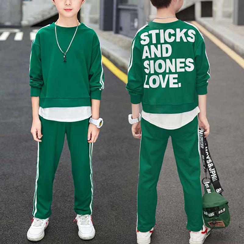 2-piece Letter Pattern Sweatshirts & Pants for Boy