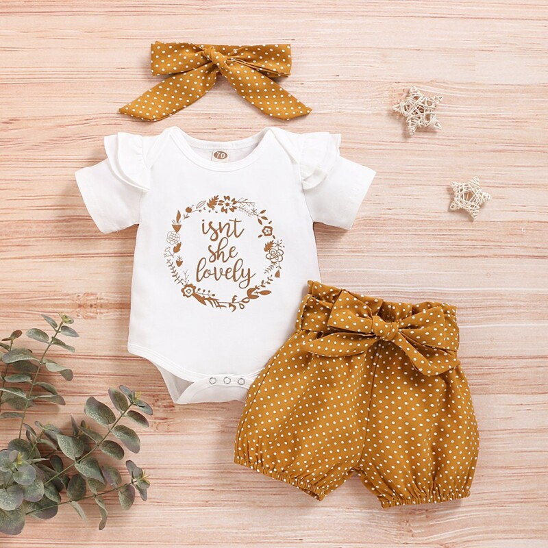 Three-piece Fitted Knitted Alphabet Dot Set for Baby Girl