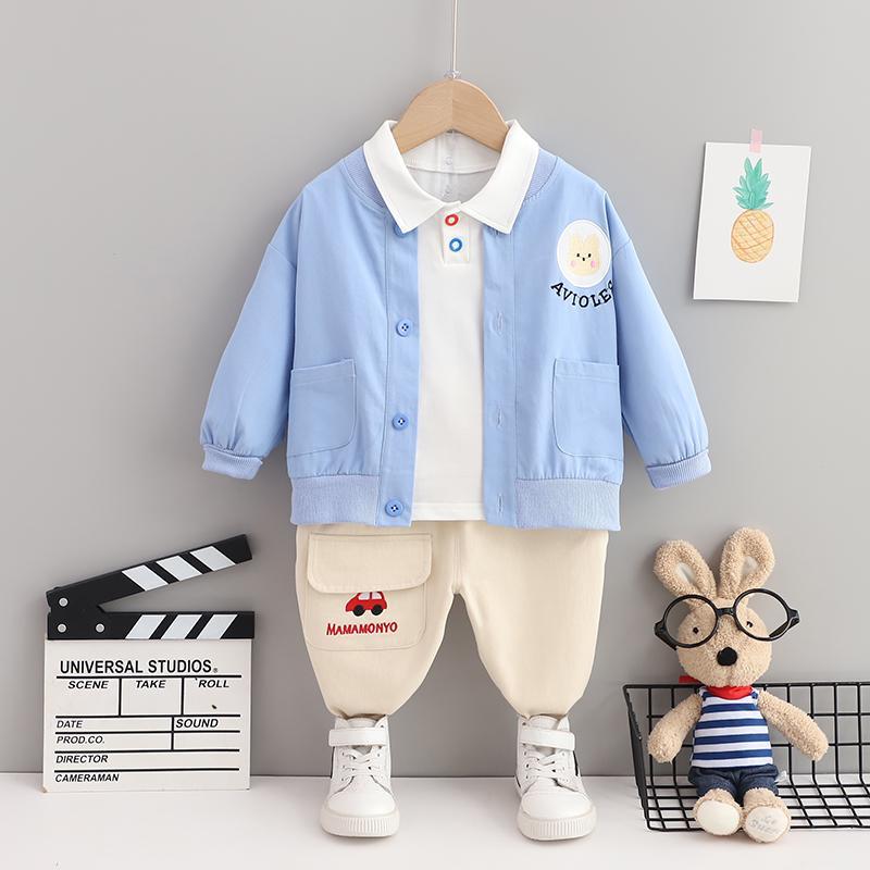 3-piece Bear Pattern Coat & Shirt & Pants for Toddler Boy