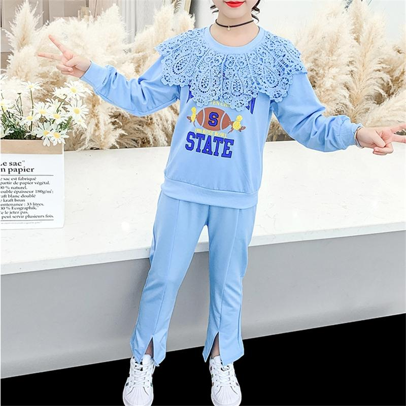 2-piece Lace Sweatshirts & Pants for Girl