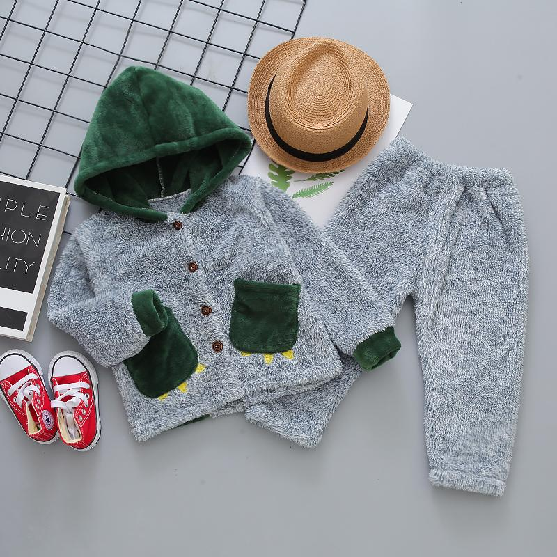 2-piece Flannel Hoodie & Pants for Toddler Boy