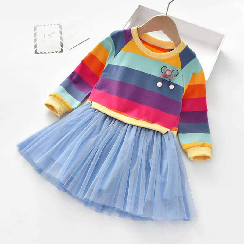 Multicolor Stripes Dress for Toddler Girl