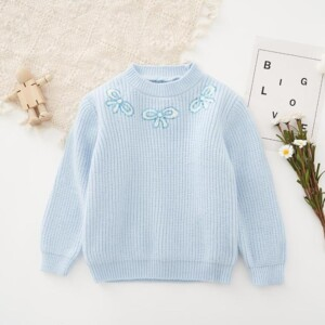 Bowknot Pattern Sweater for Toddler Girl