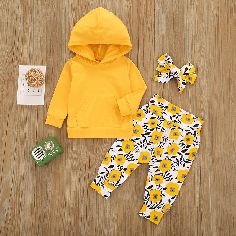 3-piece Hoodie & Headband & Floral Pattern Pants for Toddler Girl