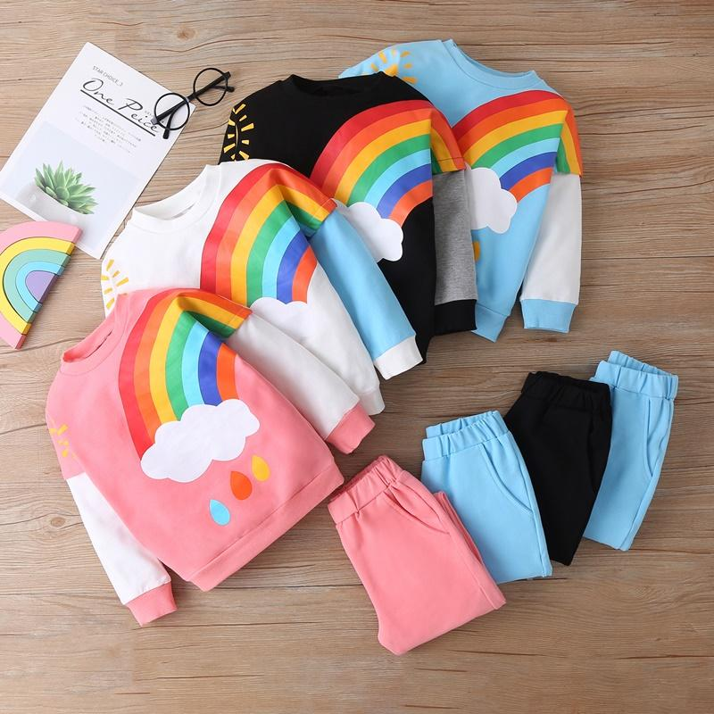 2-piece Rainbow Pattern Sweatshirts & Pants for Toddler Girl