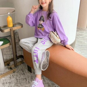 2-piece Cartoon Pattern Suit for Girl