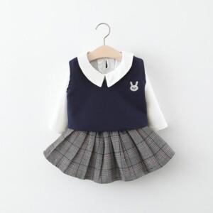 3-piece Vest & Shirt & Pleated Skirt for Toddler Girl