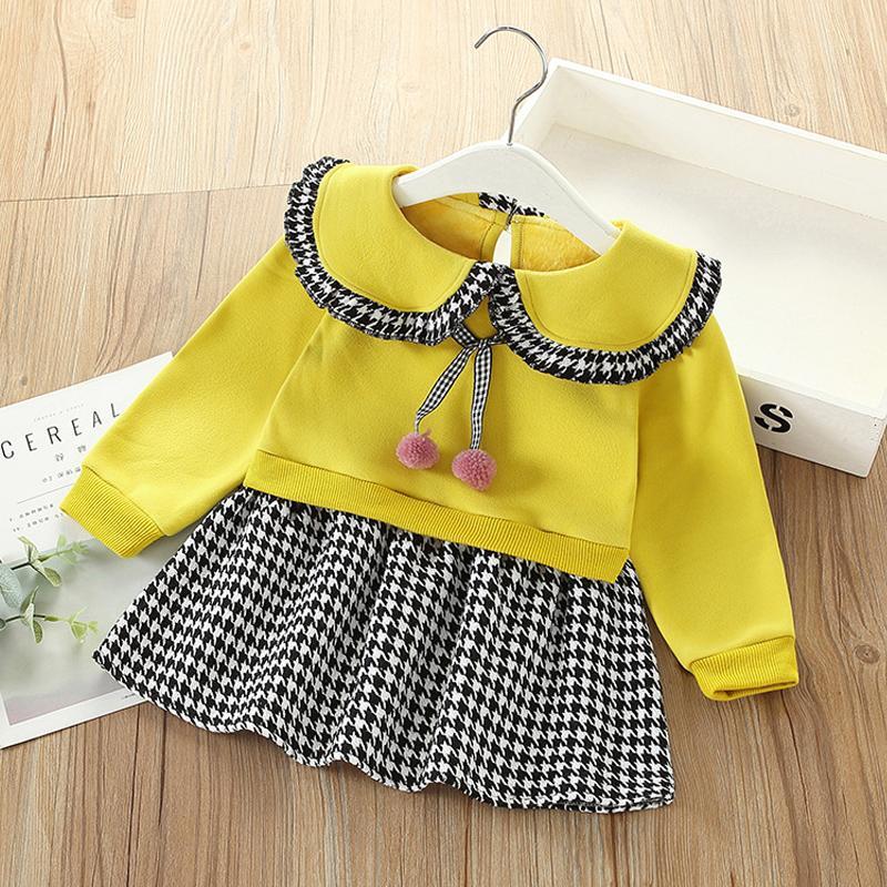 Plaid Fleece-lined Dress for Toddler Girl