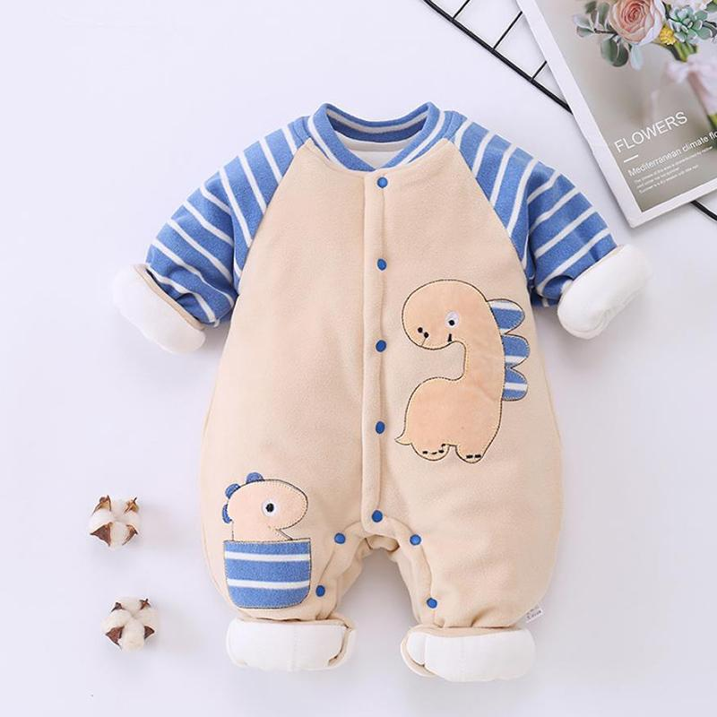 Dinosaur Pattern Fleece-lined Jumpsuit for Baby Boy