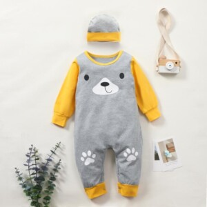 2-piece Bear Pattern Jumpsuit & Hat for Baby Boy