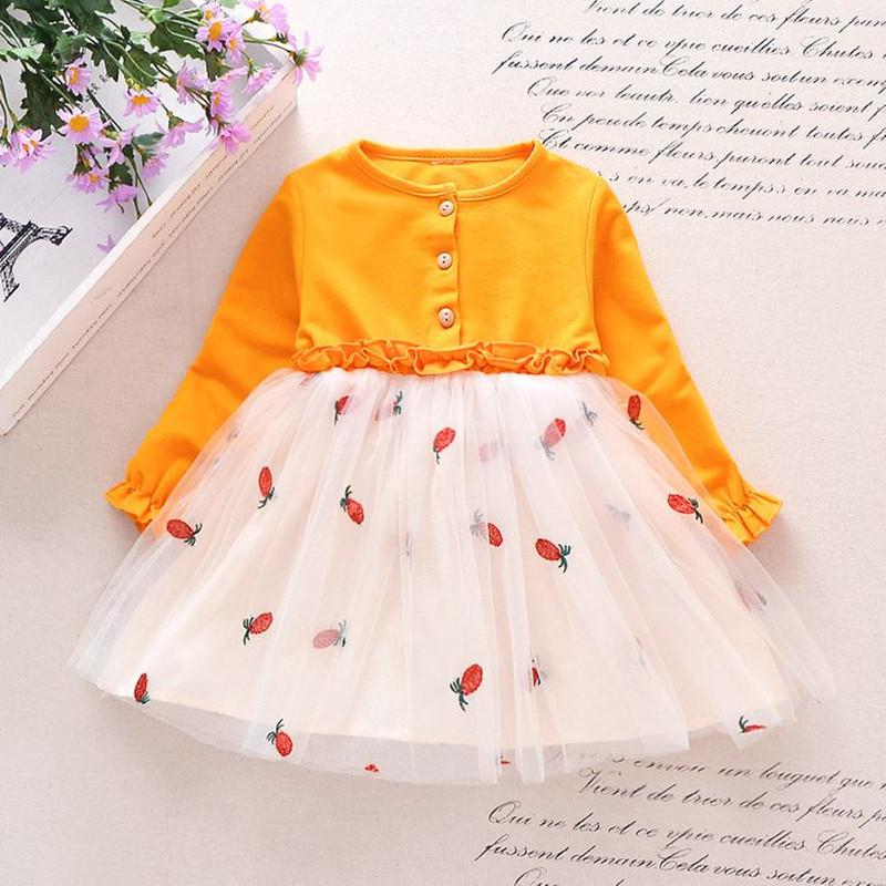 Pineapple Pattern Princess Dress for Toddler Girl