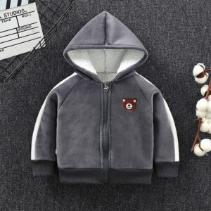 Bear Pattern Fleece-lined Jacket for Toddler Boy