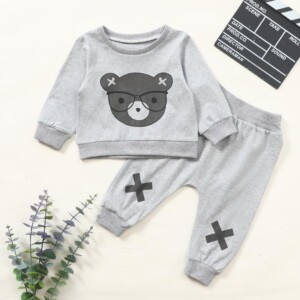 2-piece Bear Pattern Sweatshirts & Pants for Baby Boy