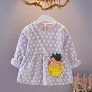 2-piece Rabbit Pattern Dress & Packet for Toddler Girl