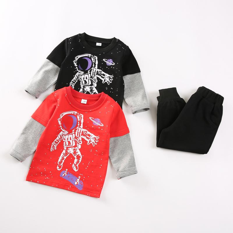 2-piece Astronaut Pattern Sweatshirts & Pants for Toddler Boy