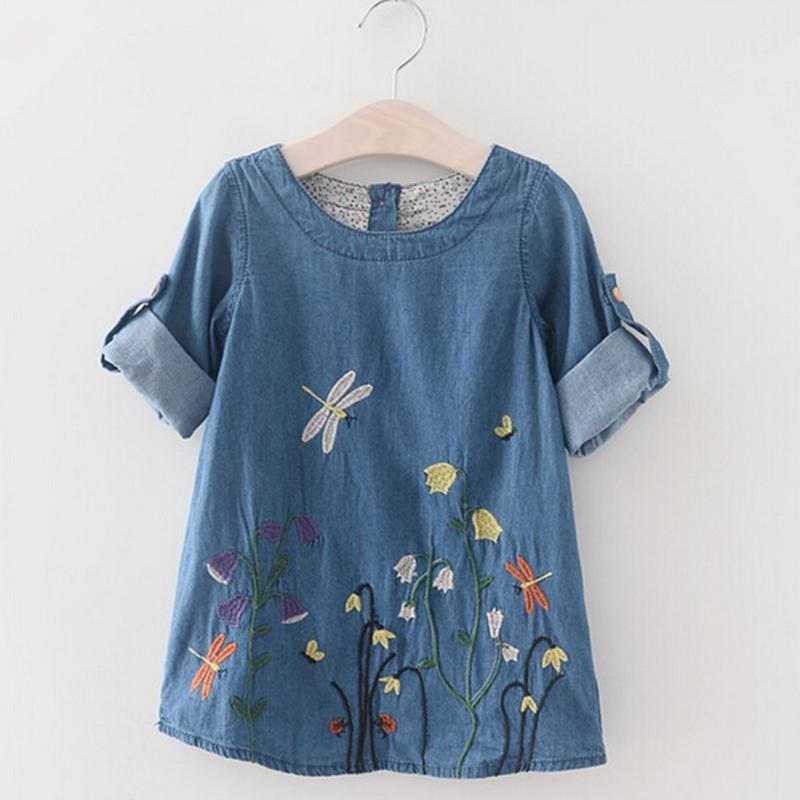 Floral Pattern Denim Dress for Toddler Girl