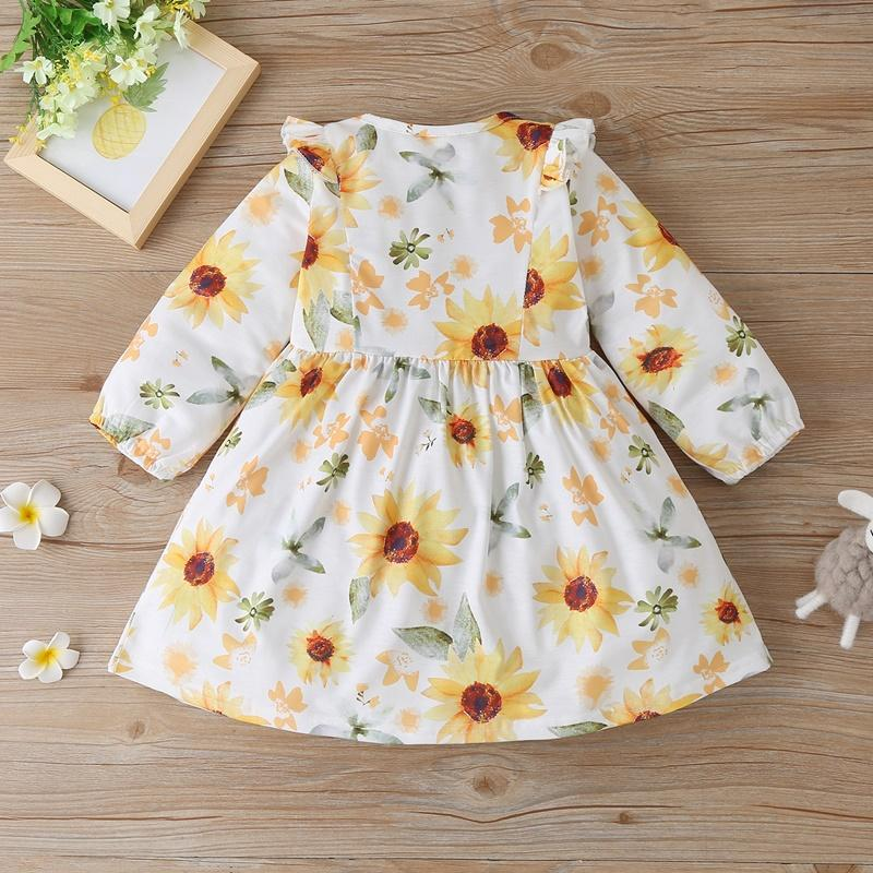 Sunflower Pattern Dress for Toddler Girl