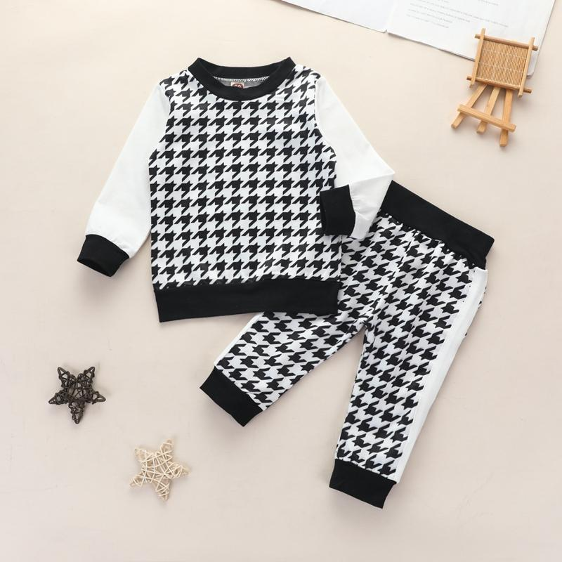 2-piece Houndstooth Sweatshirts & Pants for Toddler Girl