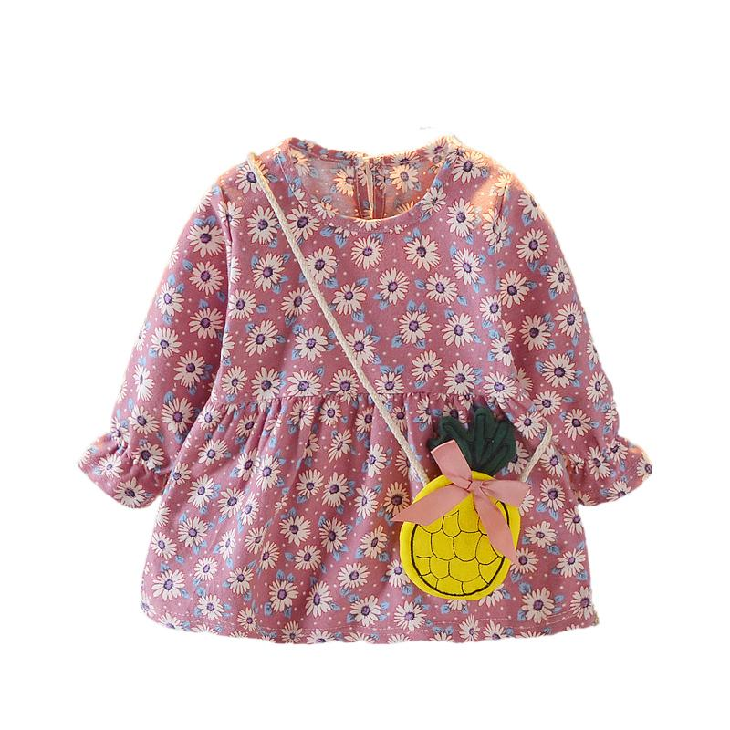2-piece Floral Pattern Long Sleeve Dress & Packet for Toddler Girl