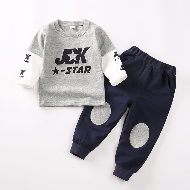 2-piece Letter Pattern Sweatshirts & Pants for Toddler Boy
