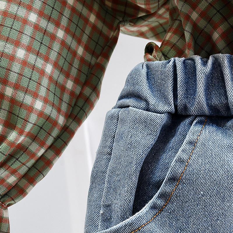 2-piece Plaid Shirt & Pants for Todlder Girl