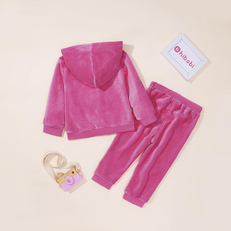 2-piece Velvet Hoodie & Pants for Toddler Girl
