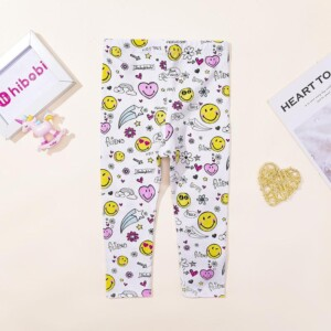 Cartoon Pattern Boot Pants for Toddler Girl