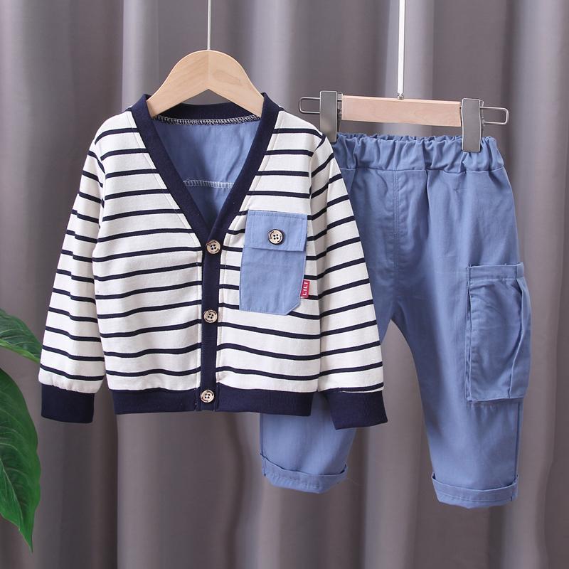 2-piece Stripes Coat & Pants for Toddler Boy