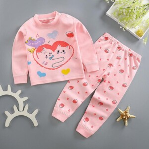 2-piece Heart-shaped Pattern Pajamas Sets for Toddler Girl