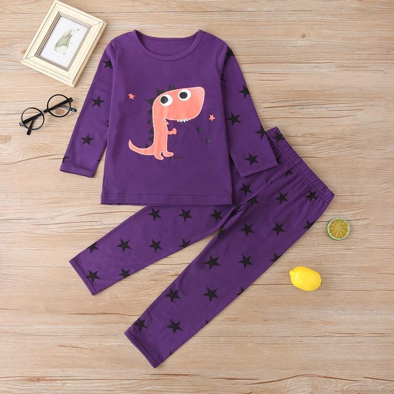 2-piece Dinosaur Pattern Pajamas Sets for Toddler Boy