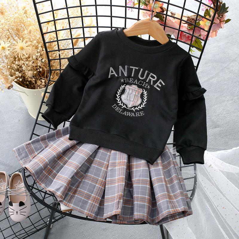2-piece Sweatshirt & Plaid Skirt for Toddler Girl