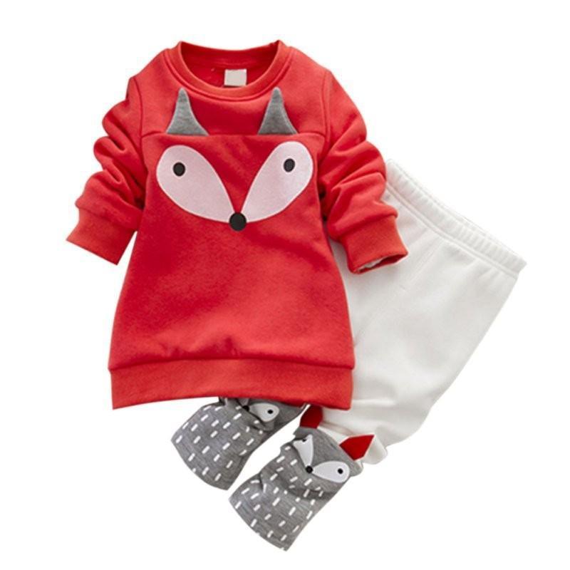 Fox Pattern Fleece-lined Suit for Toddler Girl