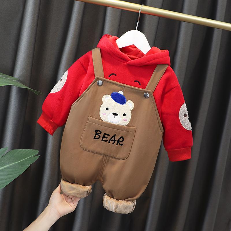 2-piece Bear Pattern Fleece-lined Hoodie & Pants for Toddler Boy