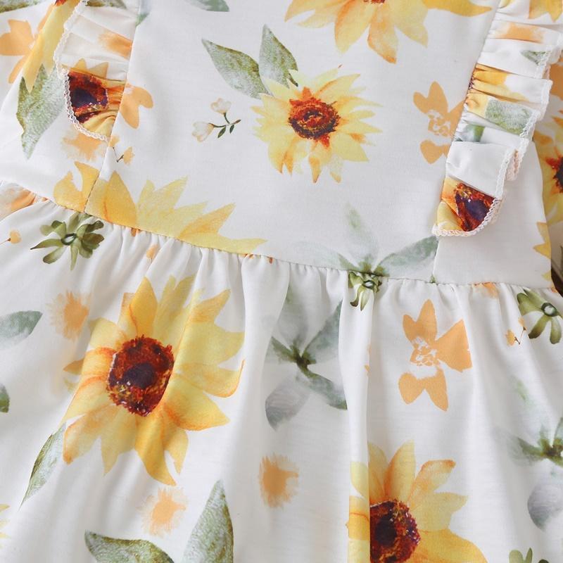Sunflower Pattern Dress for Toddler Girl